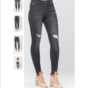 Button Fly Destroyed Black Skinnies by Judy Blue